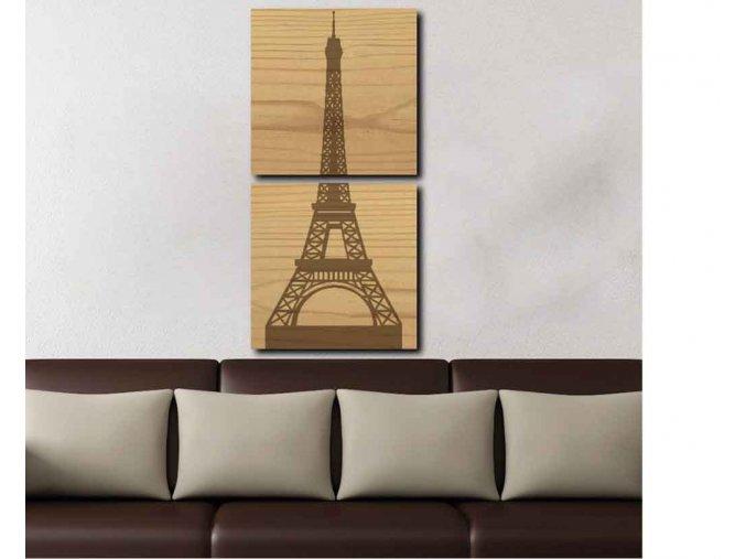 Dřevěný obraz Paříž