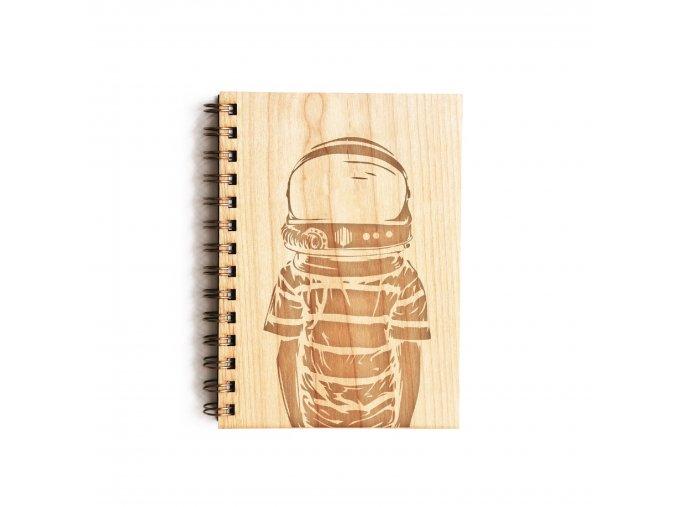 Dřevěný poznámkový blok - Astronaut