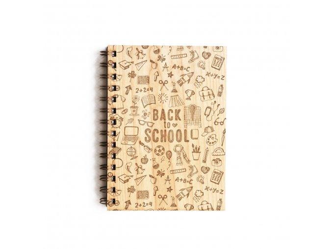 Dřevěný poznámkový blok - Back to school